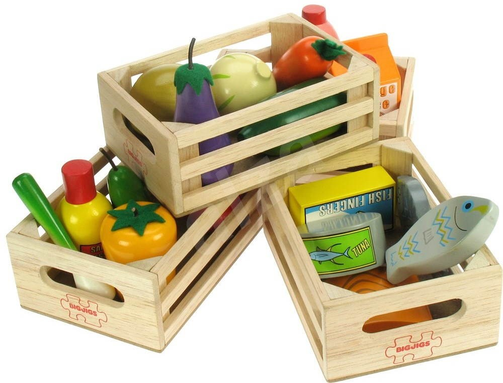 set of wooden healthy food in boxes play set toys. Black Bedroom Furniture Sets. Home Design Ideas