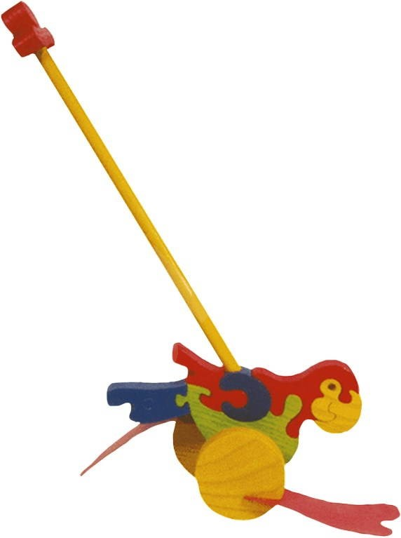Push And Pull Toys : Wooden pull along toy swatter parrot push and