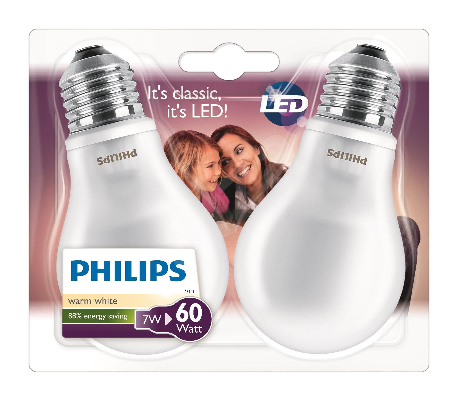 philips led classic 7 60w e27 2700k milky white 2pcs led bulb. Black Bedroom Furniture Sets. Home Design Ideas