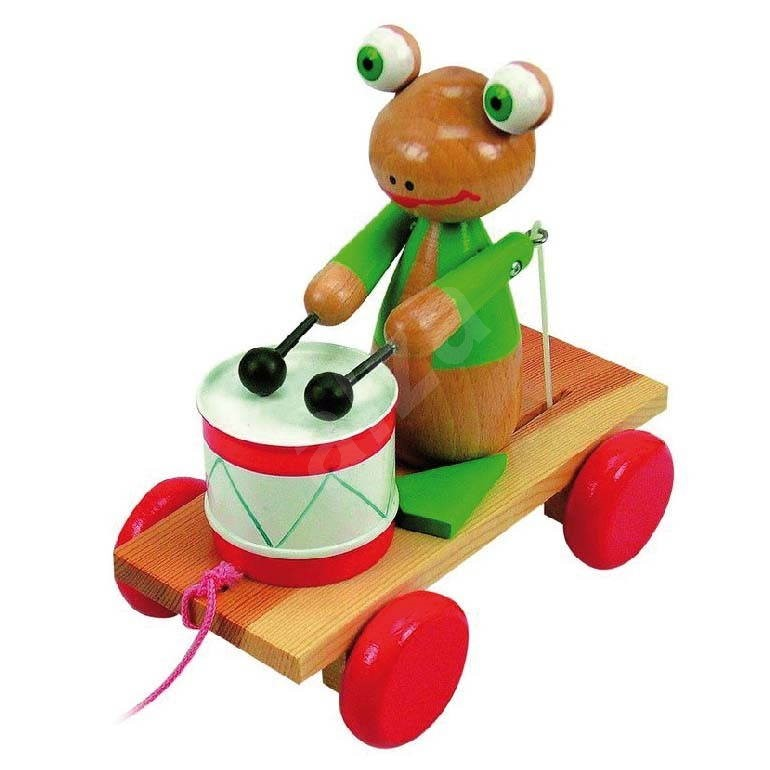 Push And Pull Toys : Wooden pull along frog with drum push and toy