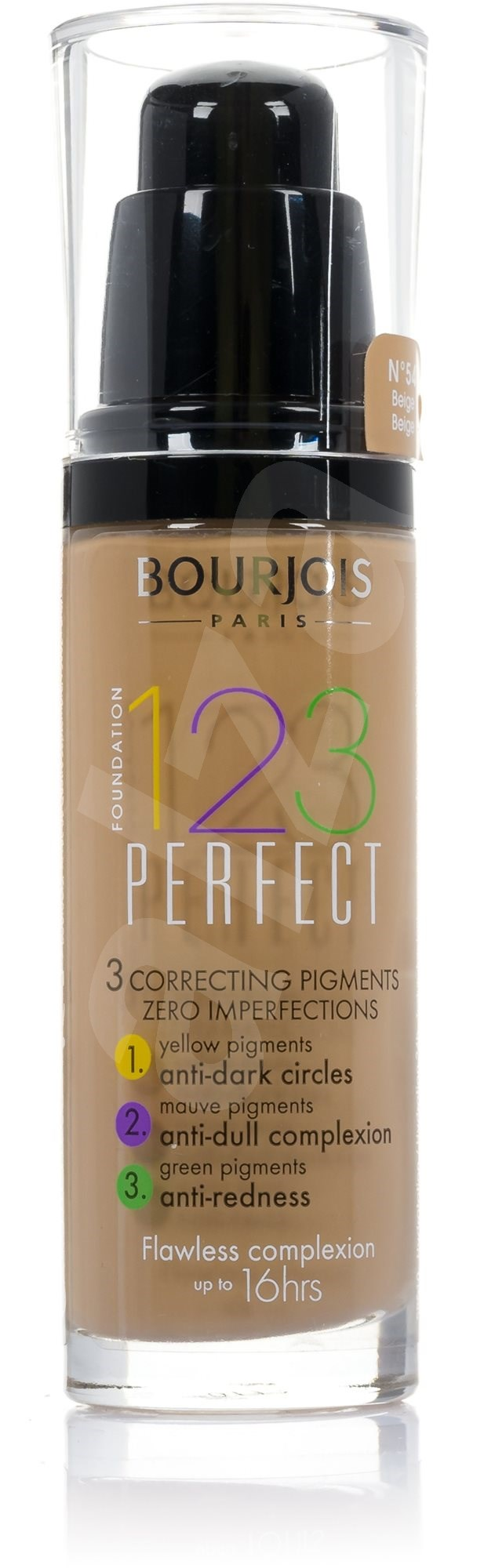 bourjois 123 perfect foundation 54 beige 30 ml mejkap alza. Black Bedroom Furniture Sets. Home Design Ideas