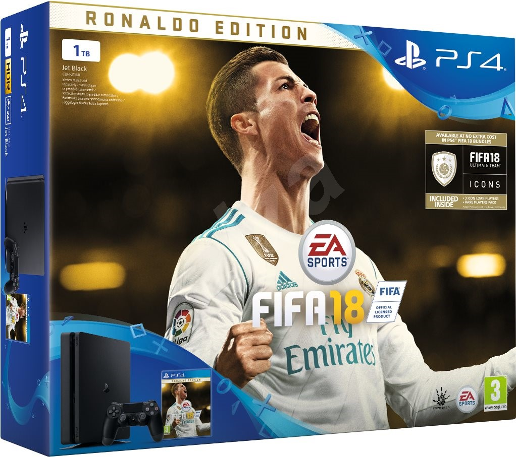 playstation 4 1tb fifa 18 ronaldo edition spielkonsole. Black Bedroom Furniture Sets. Home Design Ideas