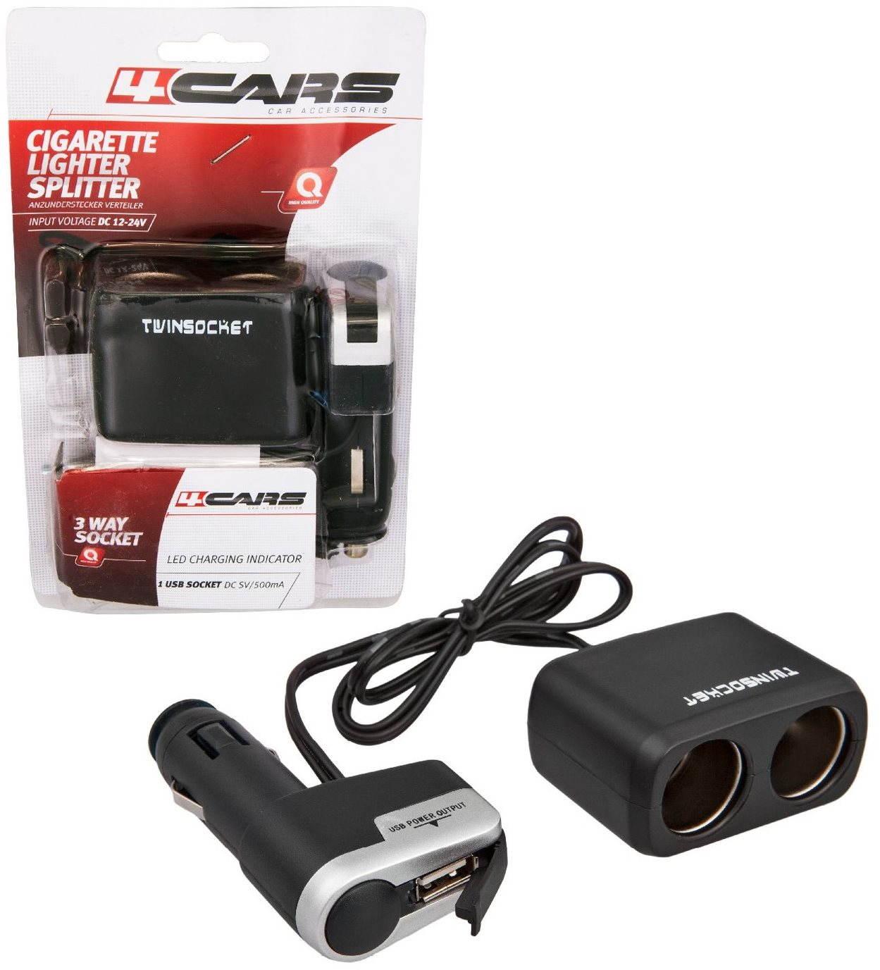 4CARS Kombinált autós töltő a szivargyújtóba 12/24V S USB
