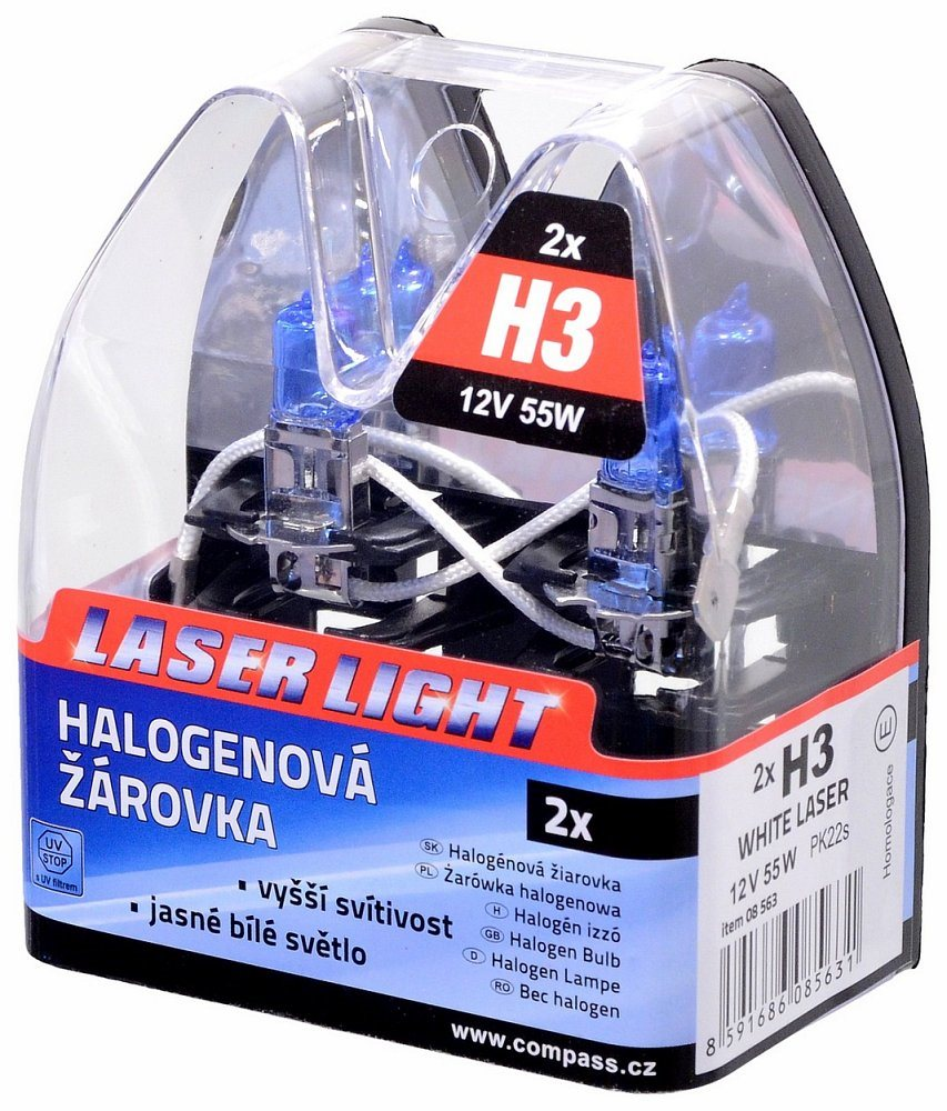 COMPASS H3 12V 55W Pk22s WHITE LASER bliszter, 2db