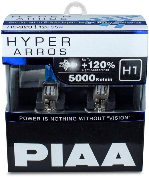 PIAA Hyper Arros 5000K H1 + 120% ragyogó fehér fény, 5000K színhőmérséklet, 2 db