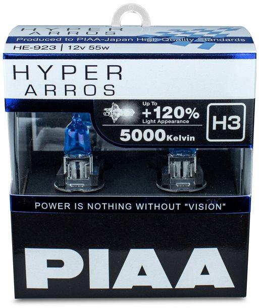 PIAA Hyper Arros 5000K H3 + 120% ragyogó fehér fény, 5000K színhőmérséklet, 2 db