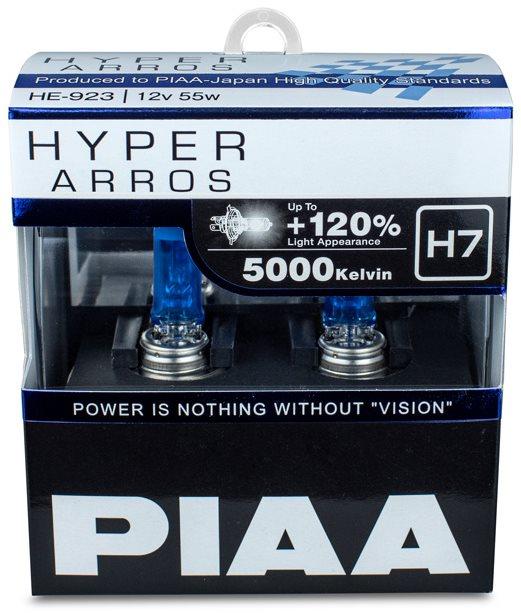 PIAA Hyper Arros 5000K H7 + 120% ragyogó fehér fény, 5000K színhőmérséklet, 2 db