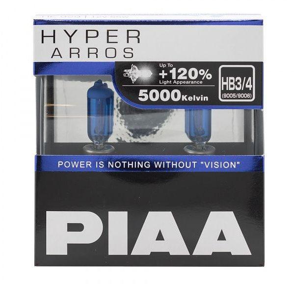 PIAA Hyper Arros 5000K HB3/HB4, +120% ragyogó fehér fény, 5000K színhőmérséklet, 2 db