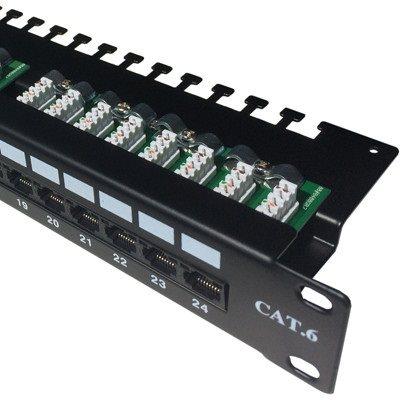 "Datacom Patch panel 19"" UTP 24 port CAT6 LSA 1U BK (3x8p) felső bevágás"
