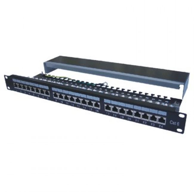 "Datacom Patch panel 19"" STP 24 port CAT6A LSA 1U BK (3x8p) /VL"