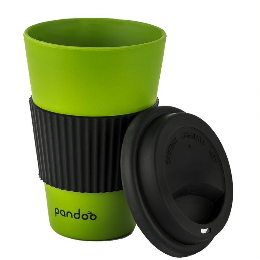 PANDOO újrafelhasználható bambuszcsésze kávéhoz és teához, 450 ml zöld