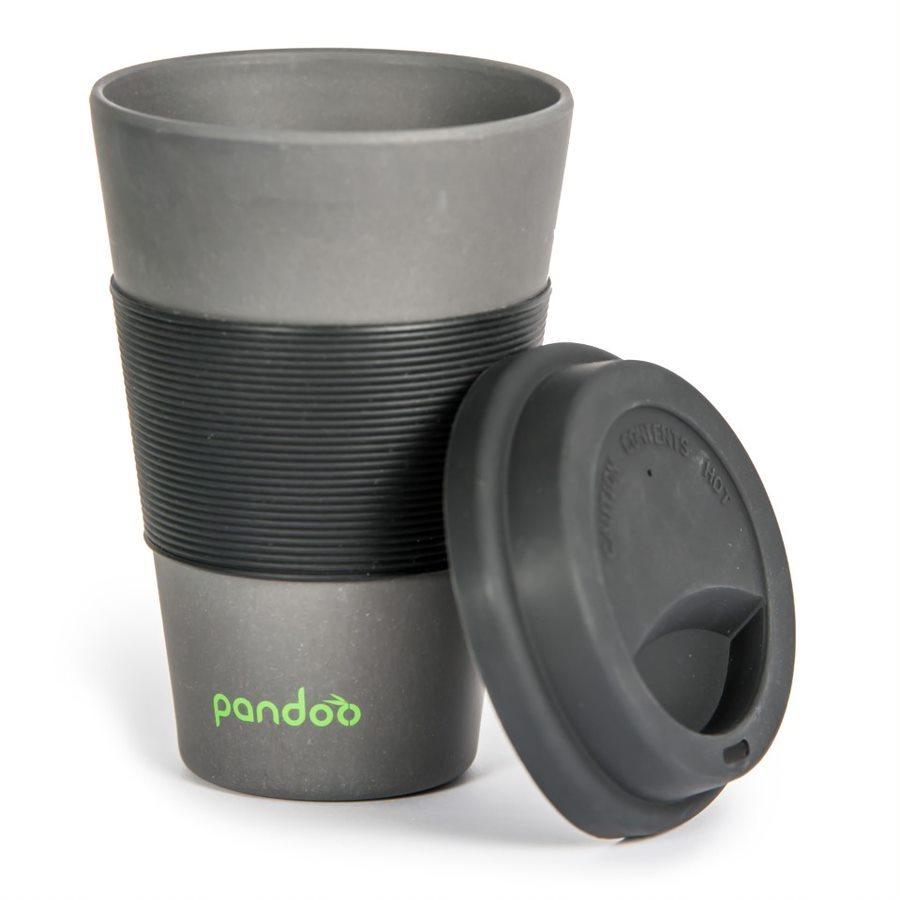 PANDOO újrafelhasználható bambuszcsésze kávéhoz és teához 450 ml fekete