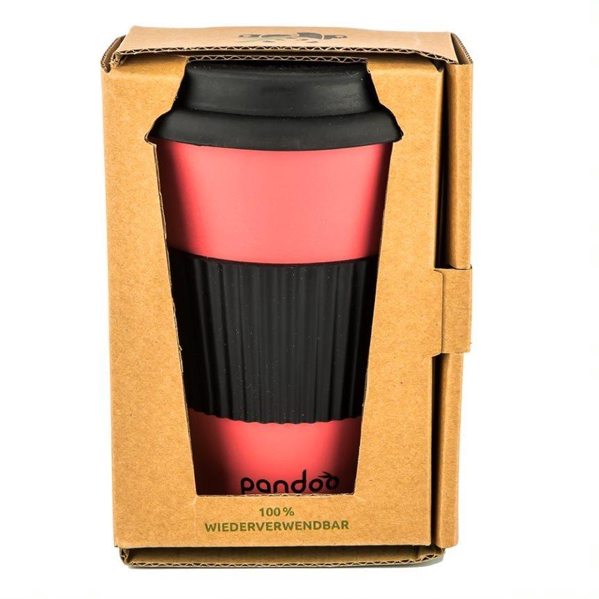 PANDOO újrafelhasználható bambuszcsésze kávéhoz és teához 450 ml piros