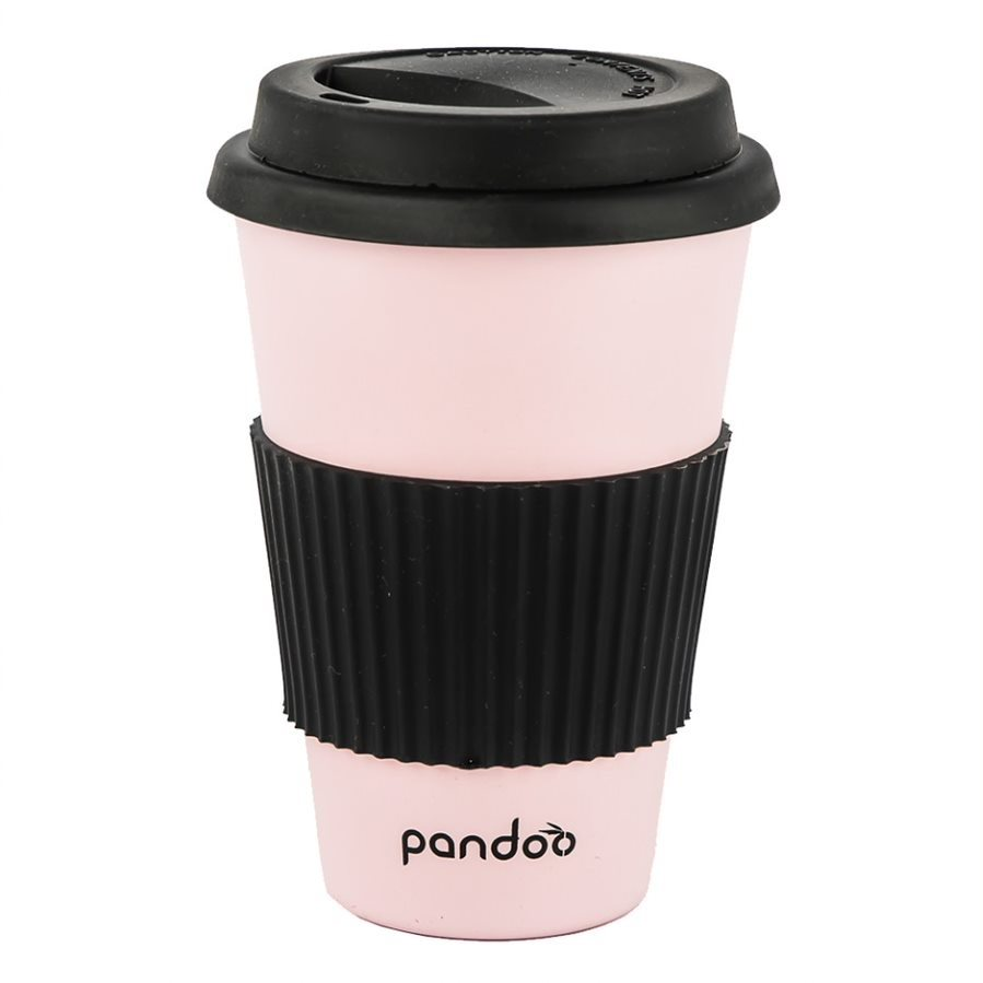 PANDOO újrafelhasználható bambuszcsésze kávéhoz és teához 450 ml, rózsaszín