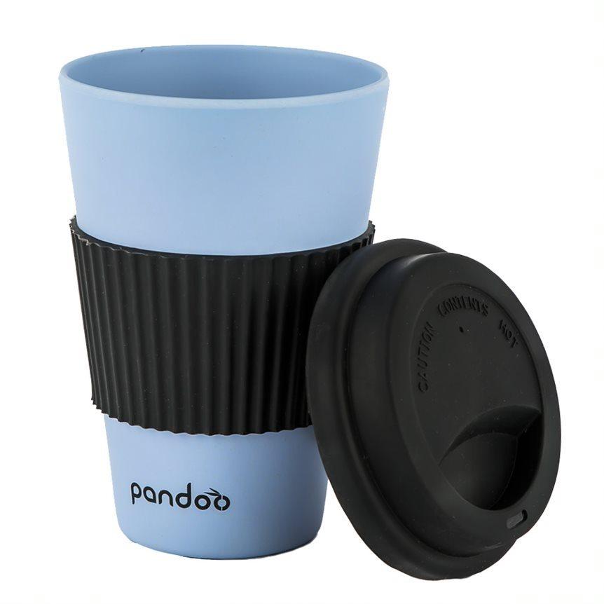 PANDOO újrafelhasználható bambuszcsésze kávéhoz és teához 450 ml, kék