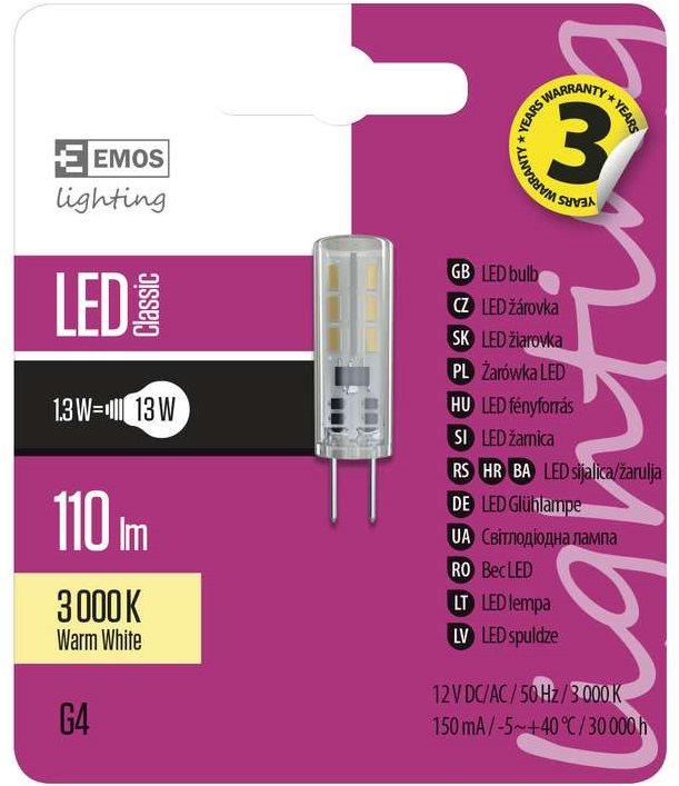 EMOS LED izzó Classic JC A++ 1.3W G4 meleg fehér