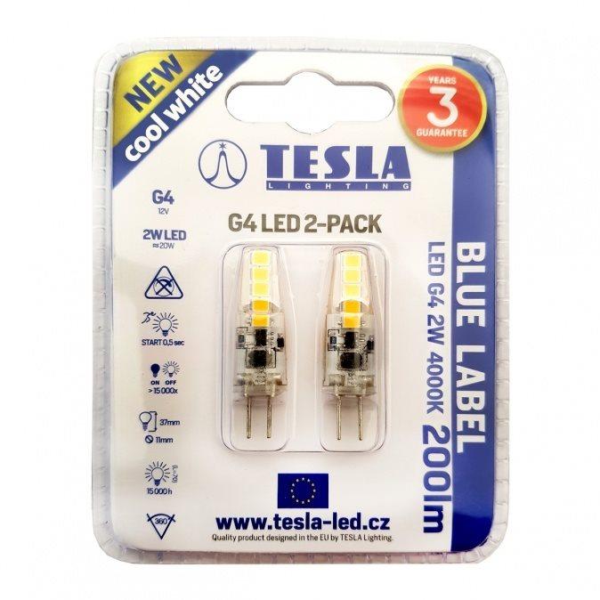 TESLA LED 2W G4 4000K, 2 db