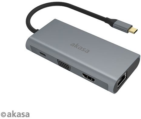 AKASA USB Type C 9 in 1 Dock (PD Type C, HDMI, VGA, 3× USB3.0 Type A, RJ45, SD és Micro SD Card Reader
