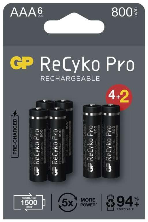 GP ReCyko Pro Professional AAA (HR03) újratölthető elem, 6 db