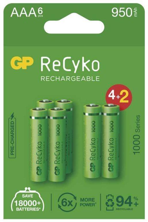 GP ReCyko 1000 AAA (HR03) újratölthető akkumulátor, 6 db