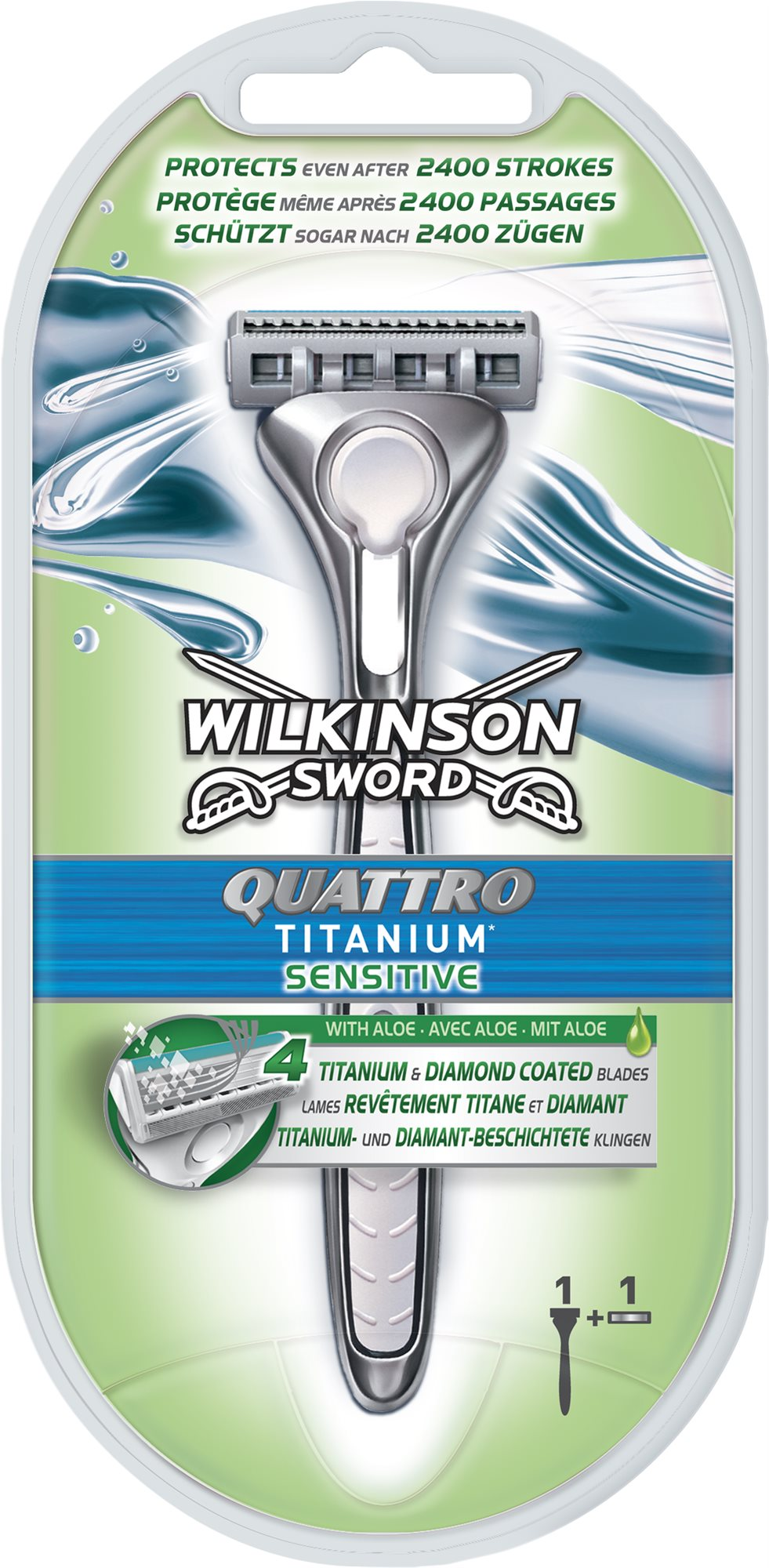 WILKINSON Quattro Titanium Sensitive + 1 db pótfej