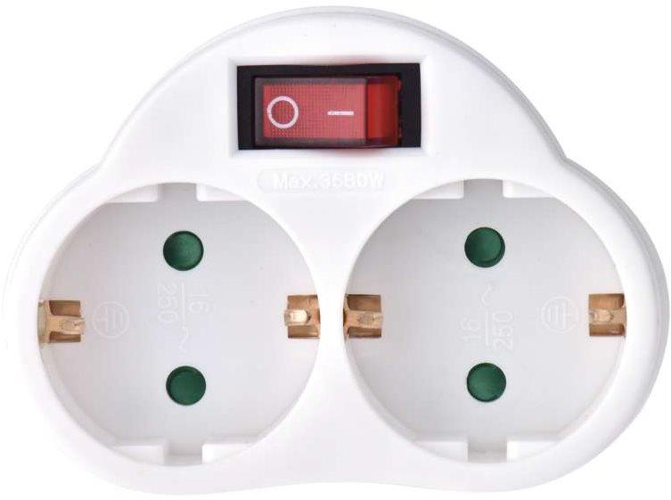 EMOS elosztó aljzat SCHUKO 2× lapos + 1× kerek, kapcsolóval