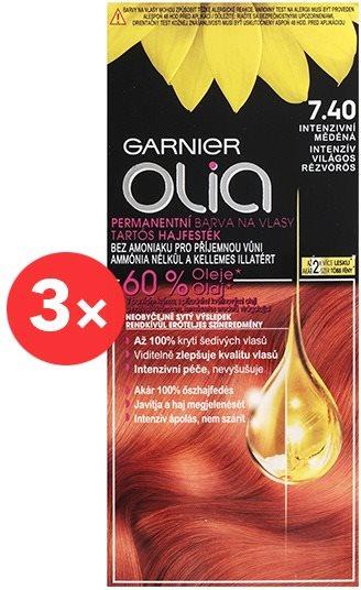 GARNIER Olia 7.40 Intenzív világos rézvörös 3 × 50 ml