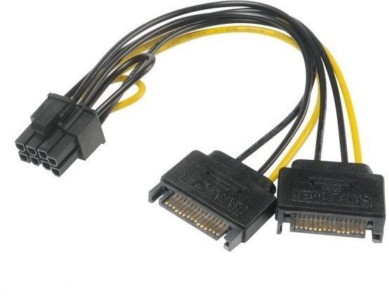 AKASA kábel adapter - 2x SATA-ról 8-tűs PCIe 2.0-ra