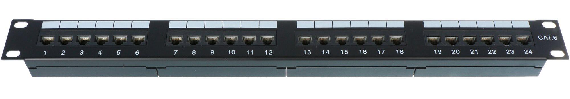 Datacom 24x RJ45 Portos, CAT6, UTP, Fekete, 1U