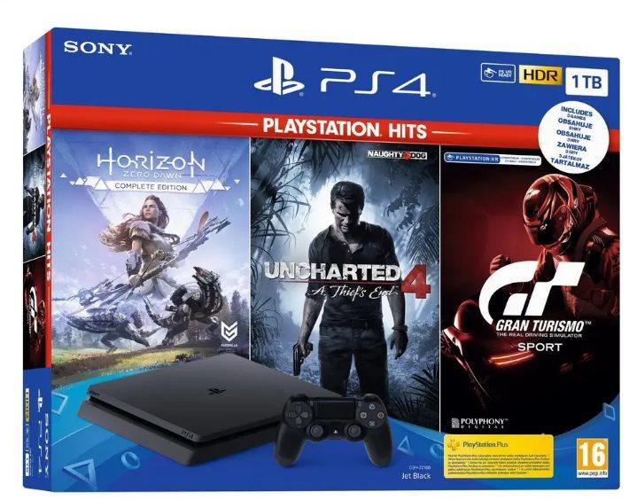 PlayStation 4 Slim 1TB + 3 játék (GT Sport, Uncharted 4, Horizon Zero Dawn)