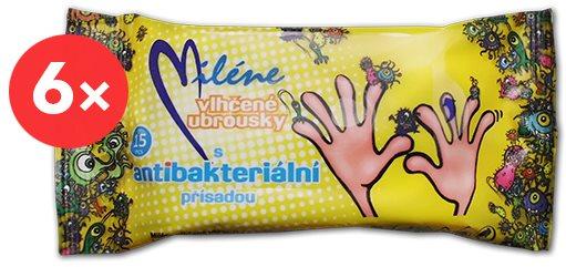 MILÉNE antibakteriális nedves törlőkendők 6 × 15 db