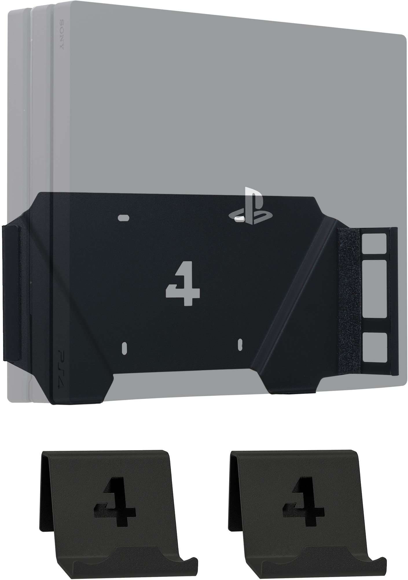 4mount - Wall Mount for PlayStation 4 Pro Black + 2x Controller Mount