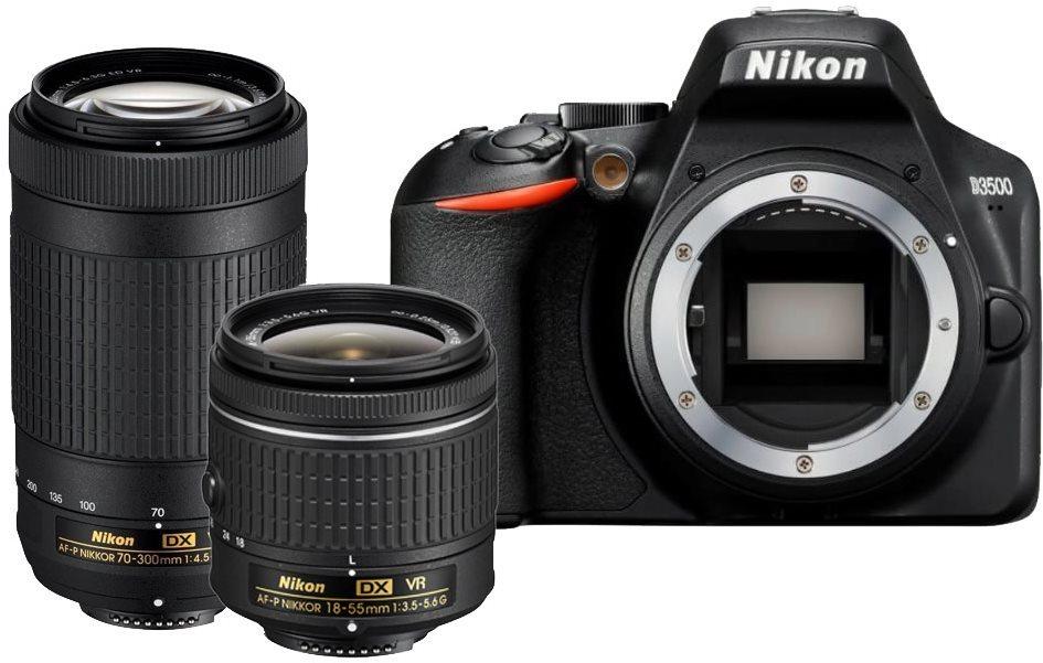 Nikon D3500 fekete + 18-55 mm VR + 70-300 mm VR