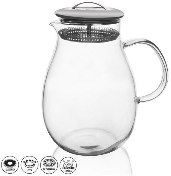 Orion Teafőző kancsó üveg/rozsdamentes acél 1,7 l