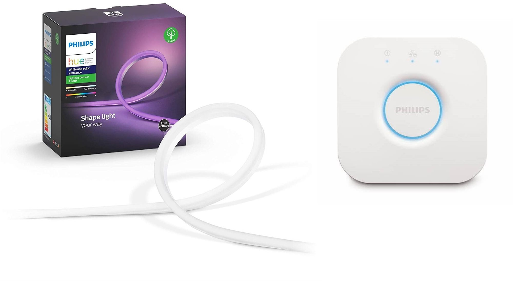 Philips Hue White and Color Ambiance Outdoor LightStrips 2M + Philips Hue Bridge 2.0