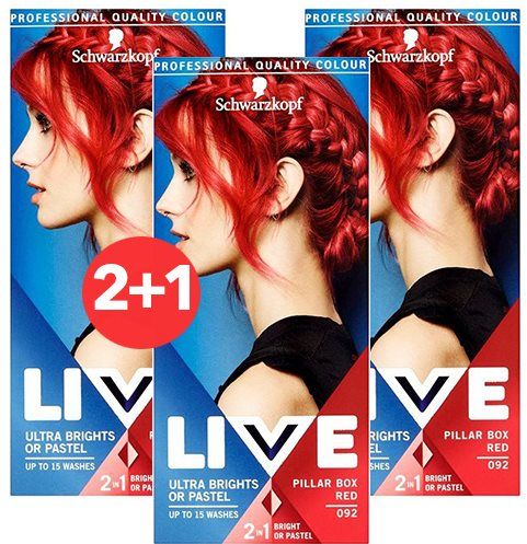 SCHWARZKOPF LIVE 92 Pillar Box Red 3 × 50 ml