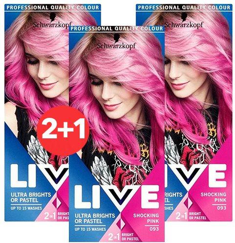 SCHWARZKOPF LIVE 93 Shocking Pink 3 × 50 ml