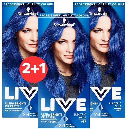 SCHWARZKOPF LIVE 95 Electric Blue 3 × 50 ml