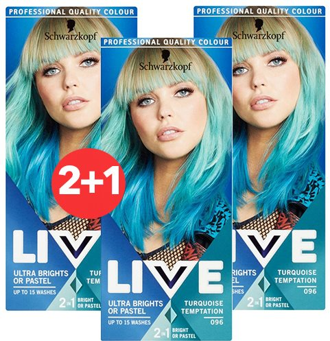 SCHWARZKOPF LIVE 96 Turquoise Temptation 3 × 50 ml