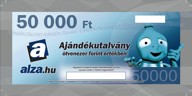 Ajándékutalvány Alza.hu 50000 Ft értékű áru vásárlására