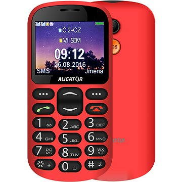 Aligator A880 GPS Senior červený + stolní nabíječka (A880RD)