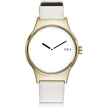 Chytré hodinky TCL MOVETIME Smartwatch Leather Gold/White (MT10G-2ELCE11)