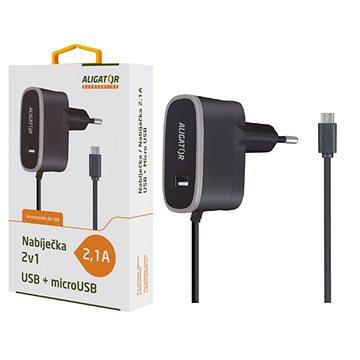 ALIGATOR MicroUSB s USB výst 5V/2,1A, černá (CDP0069)