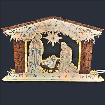 AMADEA Dřevěný svítící portál betlém, dýhový, 25 cm (06326-00)