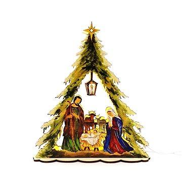 AMADEA Dřevěný svítící portál ve tvaru stromku s betlémem, barevný, 30x26,5x5,5 cm (20747-0B)
