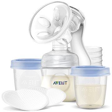 Philips AVENT Manuální odsávačka Natural 125 ml + VIA pohárky 180 ml - 5 ks (8710103810957)