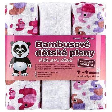 T-tomi Pleny bambusové 3 ks - růžoví sloni (8594166541412)