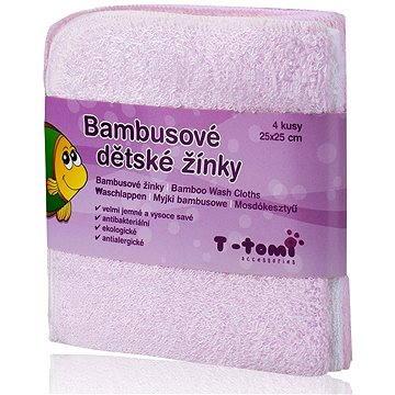 T-tomi Bambusové žínky 4 ks - Růžová (8594166540217)
