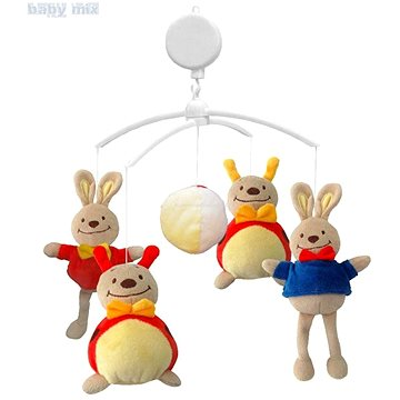 BABY MIX Plyšový kolotoč nad postýlku - Zajíčci a berušky (5902216916609)