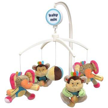 BABY MIX Plyšový kolotoč nad postýlku - Sloni a opice (5902216903142)